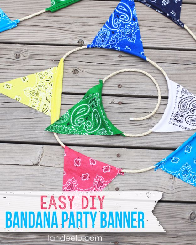 DIY Ideas With Bandanas - Easy DIY Bandana Party Banner - Bandana Crafts and Decor Projects Made With A Bandana - No Sew Ideas, Bags, Bracelets, Hats, Halter Tops, Blankets and Quilts, Headbands, Simple Craft Project Tutorials for Kids and Teens - Home Decoration and Country Themed Crafts To Make and Sell On Etsy http://diyjoy.com/diy-ideas-bandanas