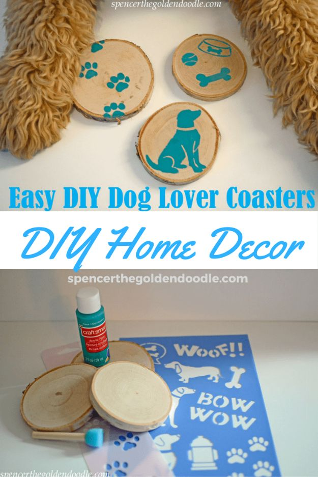 DIY Ideas With Dogs - Easy DIY Dog Lover Coasters - Cute and Easy DIY Projects for Dog Lovers - Wall and Home Decor Projects, Things To Make and Sell on Etsy - Quick Gifts to Make for Friends Who Have Puppies and Doggies - Homemade No Sew Projects- Fun Jewelry, Cool Clothes and Accessories #dogs #crafts #diyideas