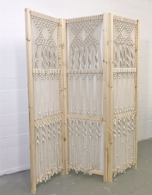 Macrame Crafts - Easy Macrame Folding Screen - DIY Ideas and Easy Macrame Projects for Home Decor, Gifts and Wall Art - Cool Bracelets, Plant Holders, Beautiful Dream Catchers, Things To Make and Sell on Etsy, How To Make Knots for Your Macrame Craft Projects, Fun Ideas Even Kids and Teens Can Make #macrame #crafts #diyideas