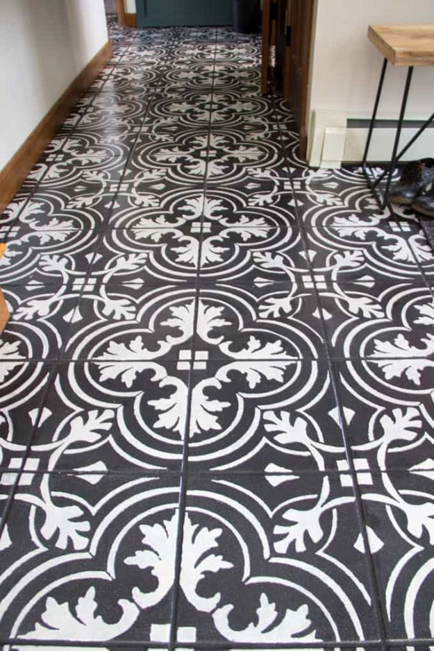 DIY Flooring Projects - Faux Cement Tile Painted Floors - Cheap Floor Ideas for Those On A Budget - Inexpensive Ways To Refinish Floors With Concrete, Laminate, Plywood, Peel and Stick Tile, Wood, Vinyl - Easy Project Plans and Unique Creative Tutorials for Cool Do It Yourself Home Decor http://diyjoy.com/diy-flooring-projects