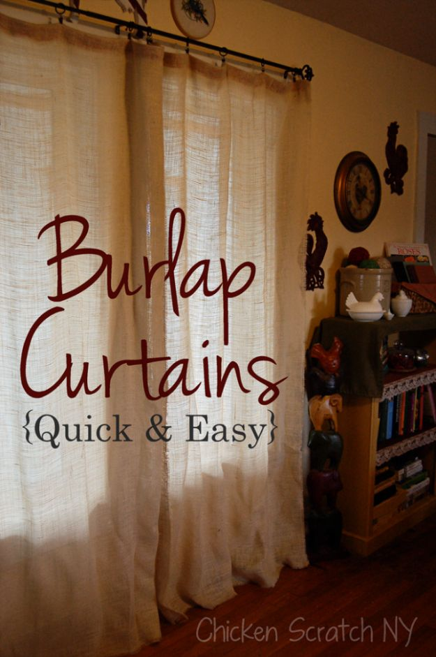 DIY Burlap Ideas - Floor Length Burlap Curtains - Burlap Furniture, Home Decor and Crafts - Banners and Buntings, Wall Art, Ottoman from Coffee Sacks, Wreath, Centerpieces and Table Runner - Kitchen, Bedroom, Living Room, Bathroom Ideas - Shabby Chic Craft Projects and DIY Wedding Decor http://diyjoy.com/diy-burlap-decor-ideas