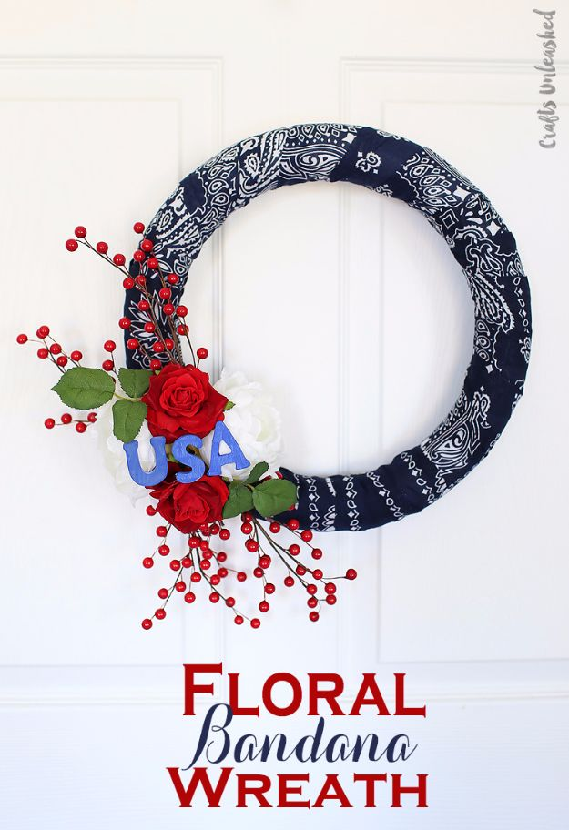DIY Ideas With Bandanas - Floral Bandana Wreath - Bandana Crafts and Decor Projects Made With A Bandana - No Sew Ideas, Bags, Bracelets, Hats, Halter Tops, Blankets and Quilts, Headbands, Simple Craft Project Tutorials for Kids and Teens - Home Decoration and Country Themed Crafts To Make and Sell On Etsy http://diyjoy.com/diy-ideas-bandanas