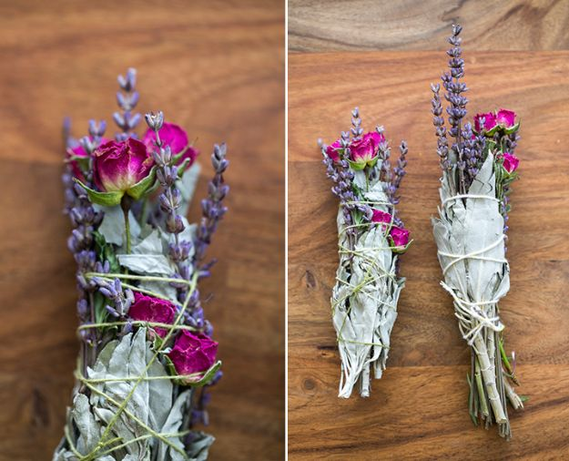 DIY Home Fragrance Ideas - Floral + Sage Smudge Sticks - Easy Ways To Make your House and Home Smell Good - Essential Oils, Diffusers, DIY Lampe Berger Oil, Candles, Room Scents and Homemade Recipes for Odor Removal - Relaxing Lavender, Fresh Clean Smells, Lemon, Herb http://diyjoy.com/diy-home-fragrance-ideas