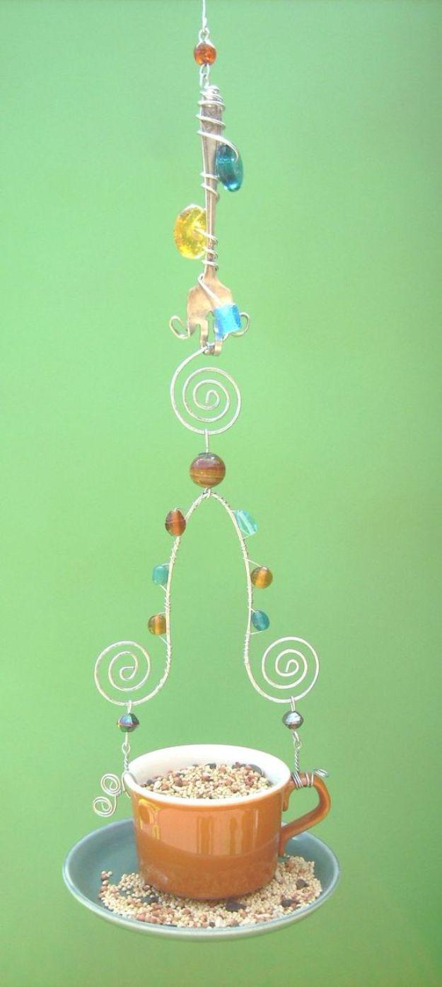 DIY Bird Feeders - Fork Wire Teacup Bird Feeder - Easy Do It Yourself Homemade Bird Feeder Ideas from Mason Jar, Wooden, Wine Bottle, Milk Jug, Plastic, Dollar Store Supplies - Squirrel Proof, Unique and Creative Tutorials That Make Cool DIY Gifts #diyideas #birds