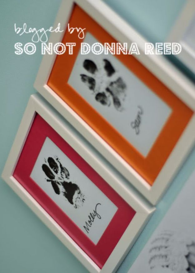DIY Ideas With Dogs - Framed Paw Prints - Cute and Easy DIY Projects for Dog Lovers - Wall and Home Decor Projects, Things To Make and Sell on Etsy - Quick Gifts to Make for Friends Who Have Puppies and Doggies - Homemade No Sew Projects- Fun Jewelry, Cool Clothes and Accessories #dogs #crafts #diyideas