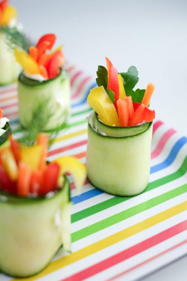 Best Dinner Party Ideas - Fresh Cucumber Roll-Ups - Best Recipes for Foods to Serve, Casseroles, Finger Foods, Desserts and Appetizers- Place Settings and Cards, Centerpieces, Table Decor and Recipe Ideas for Supper Clubs and Dinner Parties http://diyjoy.com/best-dinner-party-ideas