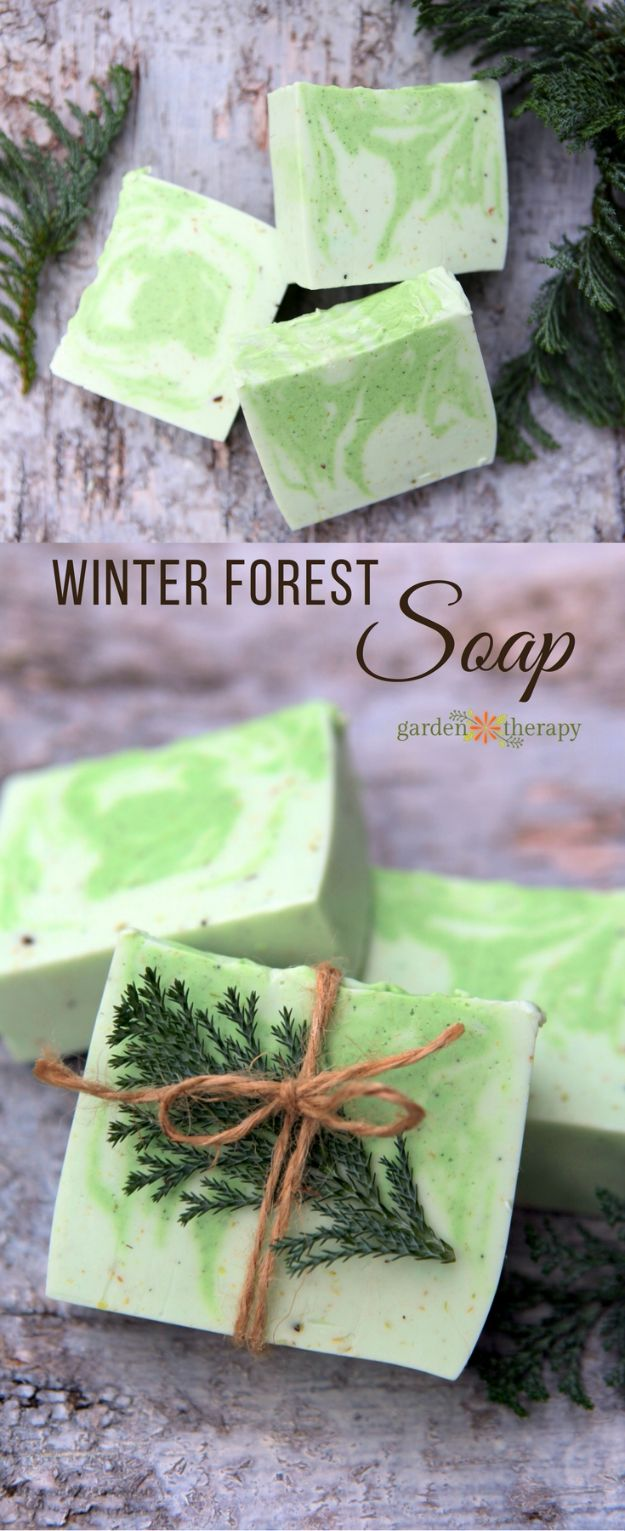 DIY Soap Recipes - Fresh and Woodsy Winter Forest Soap - Melt and Pour, Homemade Recipe Without Lye - Natural Soap crafts for Kids - Shea Butter, Essential Oils, Easy Ides With 3 Ingredients - soap recipes with step by step tutorials #soap #diygifts