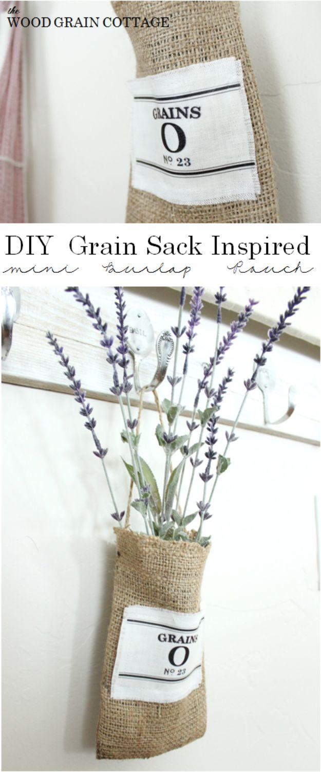 DIY Burlap Ideas - Grain Sack Inspired Burlap Pouch - Burlap Furniture, Home Decor and Crafts - Banners and Buntings, Wall Art, Ottoman from Coffee Sacks, Wreath, Centerpieces and Table Runner - Kitchen, Bedroom, Living Room, Bathroom Ideas - Shabby Chic Craft Projects and DIY Wedding Decor http://diyjoy.com/diy-burlap-decor-ideas