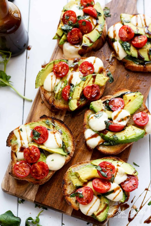 Best Brunch Recipes - Grilled Avocado Caprese Crostini - Eggs, Pancakes, Waffles, Casseroles, Vegetable Dishes and Side, Potato Recipe Ideas for Brunches - Serve A Crowd and Family with the versions of Eggs Benedict, Mimosas, Muffins and Pastries, Desserts - Make Ahead , Slow Cooler and Healthy Casserole Recipes #brunch #breakfast #recipes