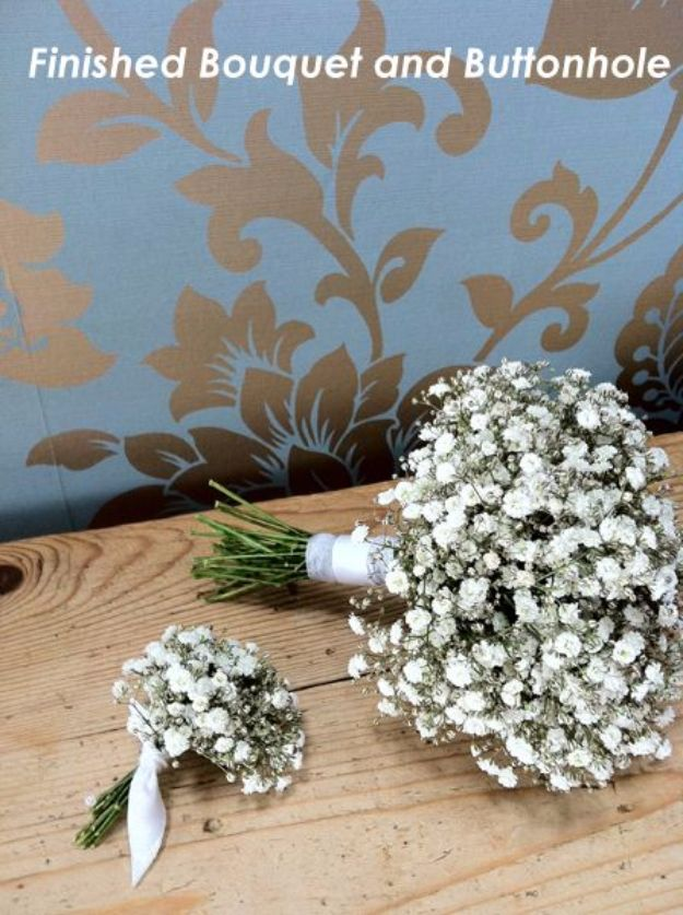DIY Flowers for Weddings - Gypsophila Bouquet and Buttonhole - Centerpieces, Bouquets, Arrangements for Wedding Ceremony - Aisle Ideas, Rustic Bouquet Projects - Paper, Cheap, Fake Floral, Silk Flower Centerpiece To Make For Brides on A Budget - Decor for Spring, Summer, Winter and Fall http://diyjoy.com/diy-flowers-for-weddings