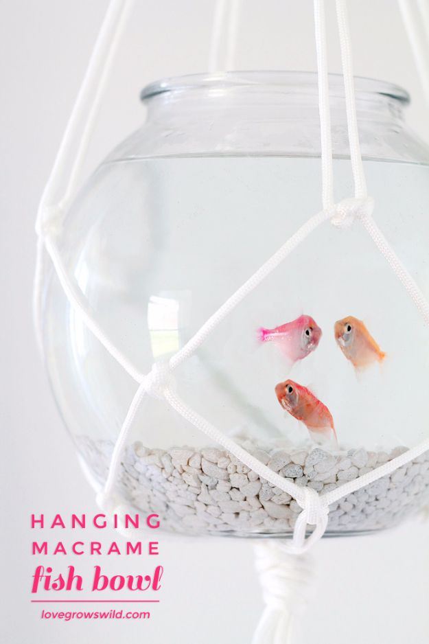 Macrame Crafts - Hanging Macrame Fish Bowl - DIY Ideas and Easy Macrame Projects for Home Decor, Gifts and Wall Art - Cool Bracelets, Plant Holders, Beautiful Dream Catchers, Things To Make and Sell on Etsy, How To Make Knots for Your Macrame Craft Projects, Fun Ideas Even Kids and Teens Can Make #macrame #crafts #diyideas