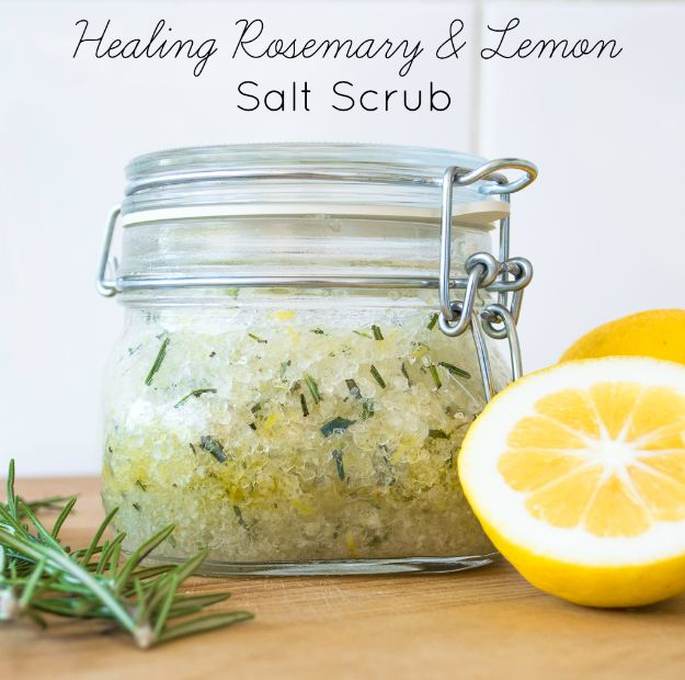 DIY Home Remedies - Healing Rosemary & Lemon Salt Scrub - Homemade Recipes and Ideas for Help Relieve Symptoms of Cold and Flu, Upset Stomach, Rash, Cough, Sore Throat, Headache and Illness - Skincare Products, Balms, Lotions and Teas