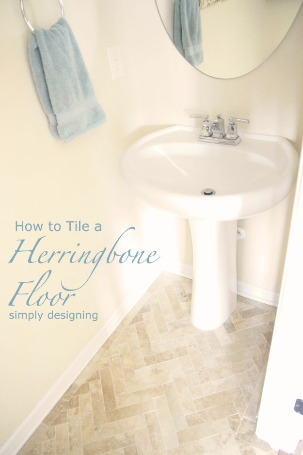 DIY Flooring Projects - Herringbone Bathroom Tile Floor - Cheap Floor Ideas for Those On A Budget - Inexpensive Ways To Refinish Floors With Concrete, Laminate, Plywood, Peel and Stick Tile, Wood, Vinyl - Easy Project Plans and Unique Creative Tutorials for Cool Do It Yourself Home Decor #diy #flooring #homeimprovement