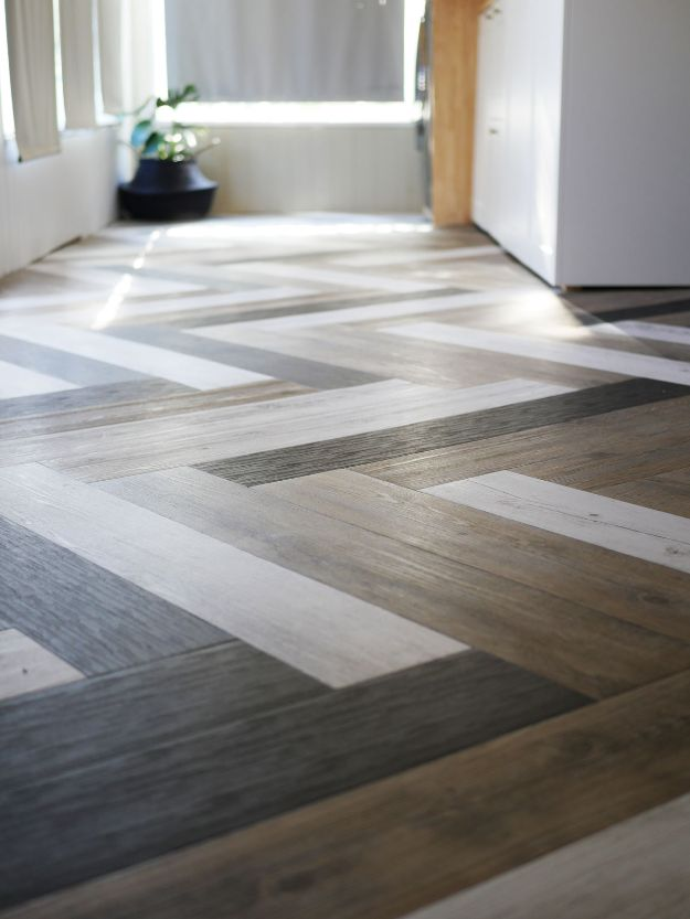 DIY Flooring Projects - Herringbone Floors with Vinyl Stick Down Planks - Cheap Floor Ideas for Those On A Budget - Inexpensive Ways To Refinish Floors With Concrete, Laminate, Plywood, Peel and Stick Tile, Wood, Vinyl - Easy Project Plans and Unique Creative Tutorials for Cool Do It Yourself Home Decor http://diyjoy.com/diy-flooring-projects