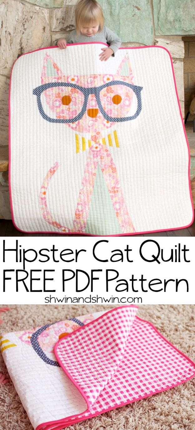 DIY Ideas With Cats - Hipster Cat Quilt - Cute and Easy DIY Projects for Cat Lovers - Wall and Home Decor Projects, Things To Make and Sell on Etsy - Quick Gifts to Make for Friends Who Have Kittens and Kitties - Homemade No Sew Projects- Fun Jewelry, Cool Clothes, Pillows and Kitty Accessories http://diyjoy.com/diy-ideas-cats