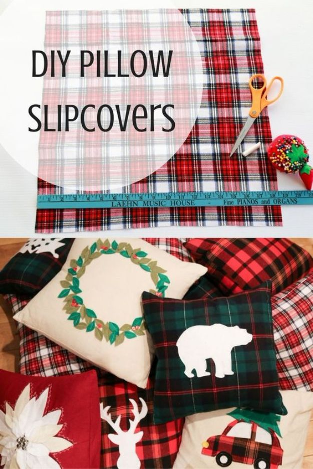 DIY Slipcovers - Holiday Pillow Slipcovers - Do It Yourself Slip Covers For Furniture - No Sew Ideas, Easy Fabrics Four Couch and Sofa Cover - Chair Projects and Ideas, How To Make a Slip cover with step by step tutorial and instructions - Cool DIY Home and Living Room Decor #slipcovers #diydecor