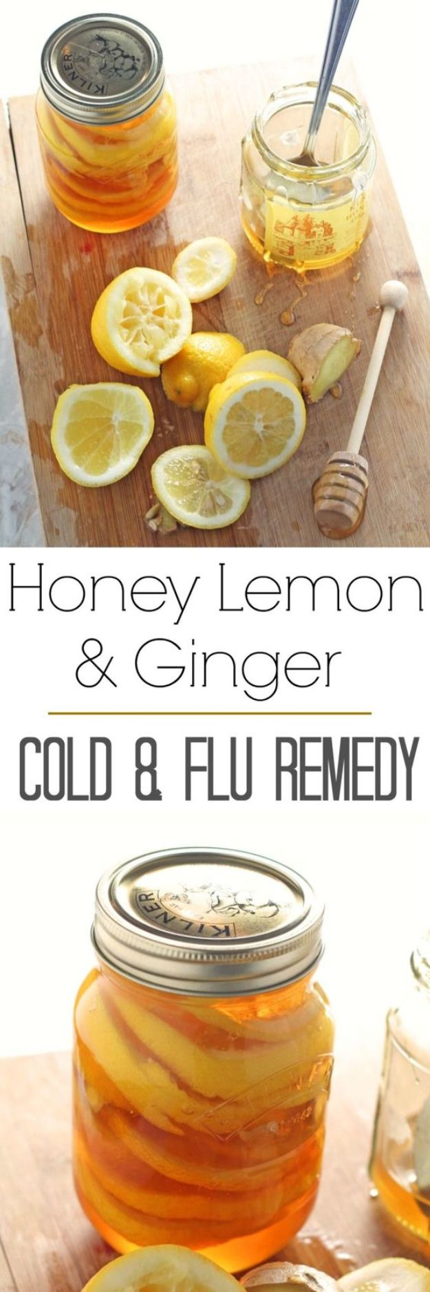 DIY Home Remedies - Honey Lemon & Ginger Jar - Homemade Recipes and Ideas for Help Relieve Symptoms of Cold and Flu, Upset Stomach, Rash, Cough, Sore Throat, Headache and Illness - Skincare Products, Balms, Lotions and Teas