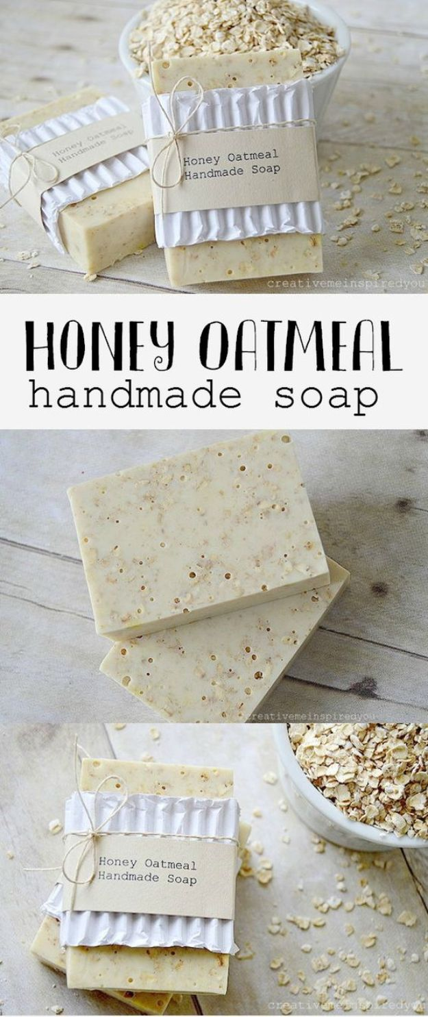 DIY Soap Recipes - Honey Oatmeal Handmade Soap - Melt and Pour, Homemade Recipe Without Lye - Natural Soap crafts for Kids - Shea Butter, Essential Oils, Easy Ides With 3 Ingredients - Pretty and Creative Soap Tutorials With Step by Step Instructions for Handmade Soap Making - Cool Stuff To Make and Sell On Etsy http://diyjoy.com/diy-soap-recipes
