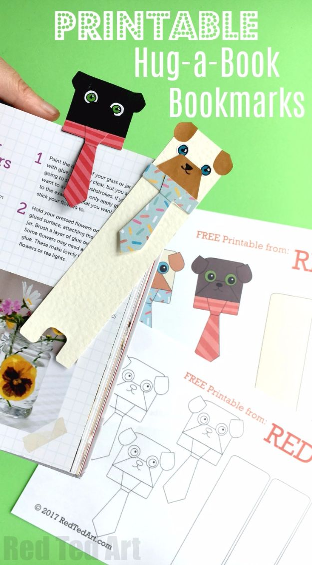 DIY Ideas With Dogs - Hug a Book Pug Bookmark DIY - Cute and Easy DIY Projects for Dog Lovers - Wall and Home Decor Projects, Things To Make and Sell on Etsy - Quick Gifts to Make for Friends Who Have Puppies and Doggies - Homemade No Sew Projects- Fun Jewelry, Cool Clothes and Accessories #dogs #crafts #diyideas