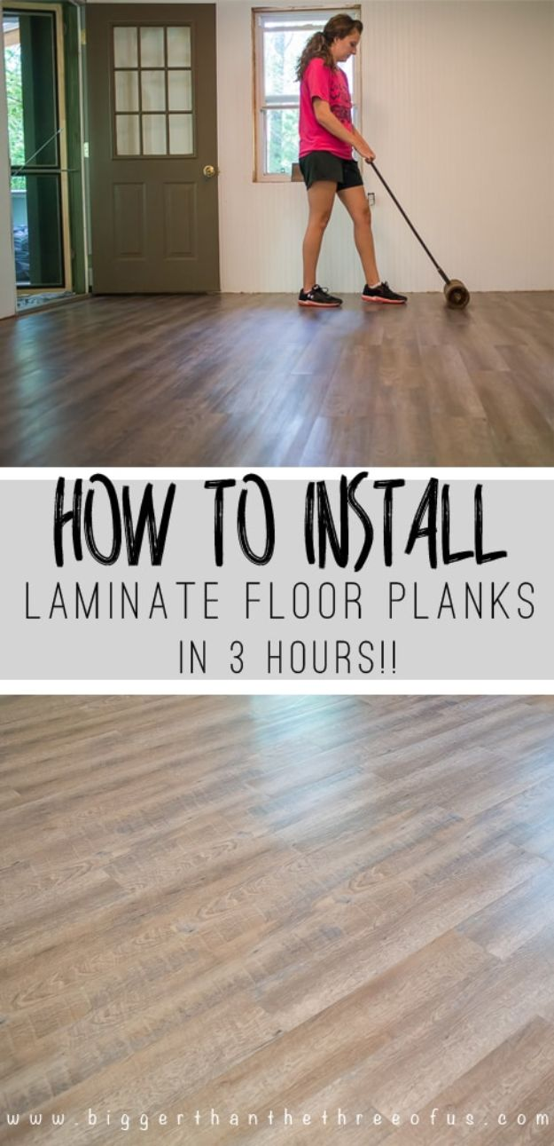 DIY Flooring Projects - Install Laminate Flooring - Cheap Floor Ideas for Those On A Budget - Inexpensive Ways To Refinish Floors With Concrete, Laminate, Plywood, Peel and Stick Tile, Wood, Vinyl - Easy Project Plans and Unique Creative Tutorials for Cool Do It Yourself Home Decor http://diyjoy.com/diy-flooring-projects