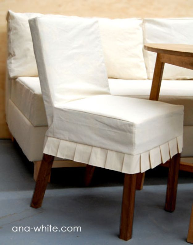 DIY Slipcovers - Kitchen Chair Slipcover - Do It Yourself Slip Covers For Furniture - No Sew Ideas, Easy Fabrics Four Couch and Sofa Cover - Chair Projects and Ideas, How To Make a Slip cover with step by step tutorial and instructions - Cool DIY Home and Living Room Decor http://diyjoy.com/diy-slipcovers