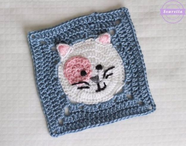 DIY Ideas With Cats - Kitty Cat Crochet Granny Square - Cute and Easy DIY Projects for Cat Lovers - Wall and Home Decor Projects, Things To Make and Sell on Etsy - Quick Gifts to Make for Friends Who Have Kittens and Kitties - Homemade No Sew Projects- Fun Jewelry, Cool Clothes, Pillows and Kitty Accessories http://diyjoy.com/diy-ideas-cats