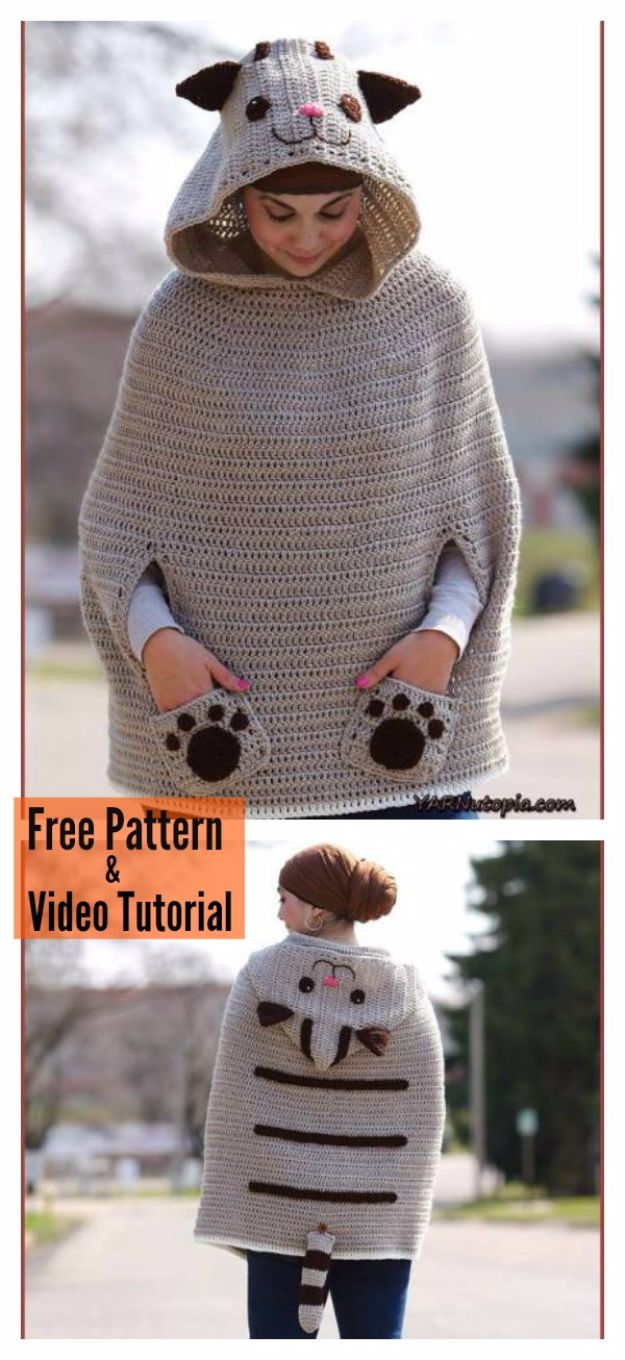 DIY Ideas With Cats - Kitty Cat Poncho - Cute and Easy DIY Projects for Cat Lovers - Wall and Home Decor Projects, Things To Make and Sell on Etsy - Quick Gifts to Make for Friends Who Have Kittens and Kitties - Homemade No Sew Projects- Fun Jewelry, Cool Clothes, Pillows and Kitty Accessories http://diyjoy.com/diy-ideas-cats