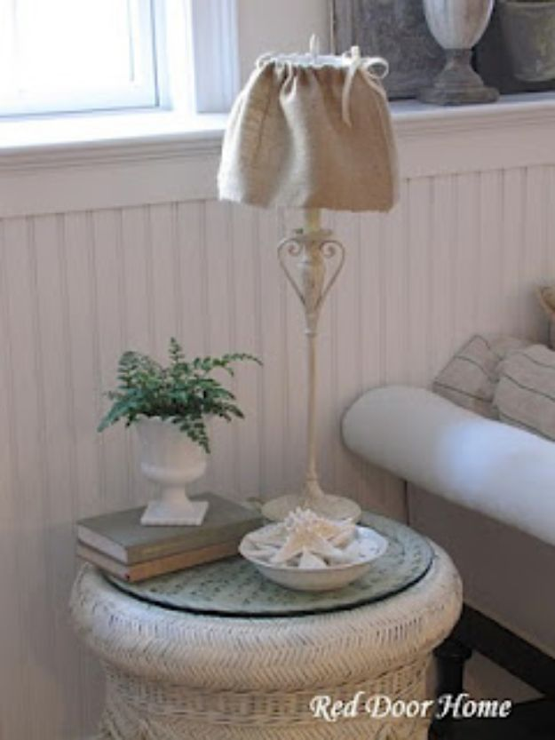 DIY Slipcovers - Lampshade Slipcover - Do It Yourself Slip Covers For Furniture - No Sew Ideas, Easy Fabrics Four Couch and Sofa Cover - Chair Projects and Ideas, How To Make a Slip cover with step by step tutorial and instructions - Cool DIY Home and Living Room Decor #slipcovers #diydecor