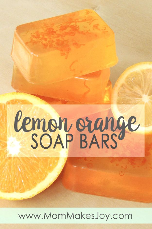 DIY Soap Recipes - Lemon Orange Soap Bars - Melt and Pour, Homemade Recipe Without Lye - Natural Soap crafts for Kids - Shea Butter, Essential Oils, Easy Ides With 3 Ingredients - soap recipes with step by step tutorials #soap #diygifts
