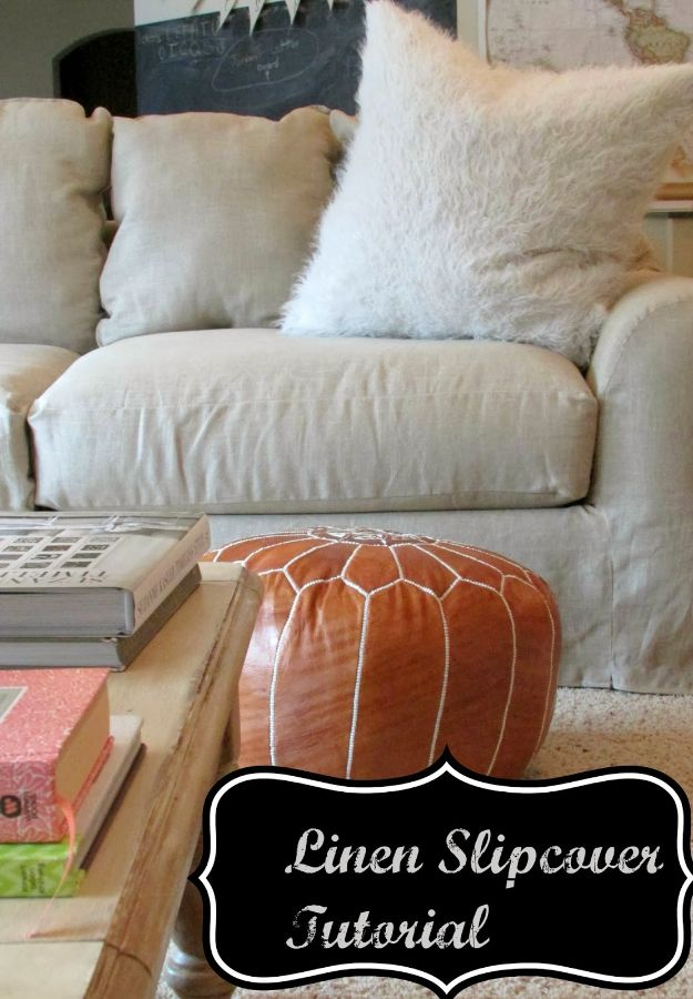 DIY Slipcovers - Linen Slipcovered Couch - Do It Yourself Slip Covers For Furniture - No Sew Ideas, Easy Fabrics Four Couch and Sofa Cover - Chair Projects and Ideas, How To Make a Slip cover with step by step tutorial and instructions - Cool DIY Home and Living Room Decor #slipcovers #diydecor