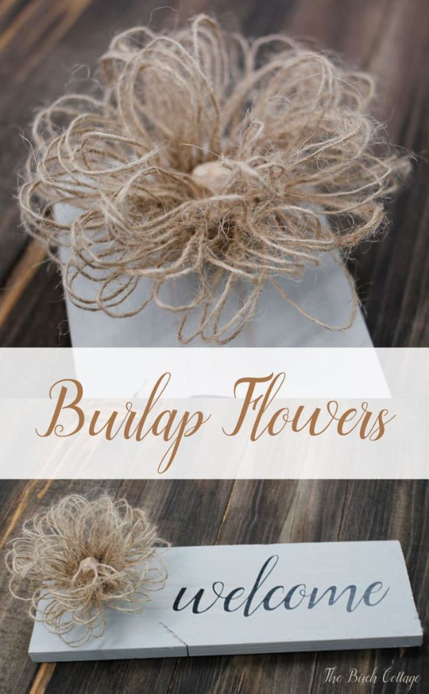 DIY Burlap Ideas - Loopy Burlap Flowers from Burlap Ribbon - Burlap Furniture, Home Decor and Crafts - Banners and Buntings, Wall Art, Ottoman from Coffee Sacks, Wreath, Centerpieces and Table Runner - Kitchen, Bedroom, Living Room, Bathroom Ideas - Shabby Chic Craft Projects and DIY Wedding Decor http://diyjoy.com/diy-burlap-decor-ideas