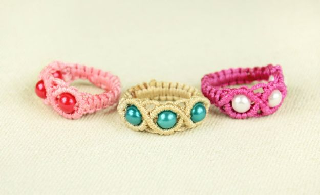 Macrame Crafts - Macrame Ring with Beads - DIY Ideas and Easy Macrame Projects for Home Decor, Gifts and Wall Art - Cool Bracelets, Plant Holders, Beautiful Dream Catchers, Things To Make and Sell on Etsy, How To Make Knots for Your Macrame Craft Projects, Fun Ideas Even Kids and Teens Can Make #macrame #crafts #diyideas