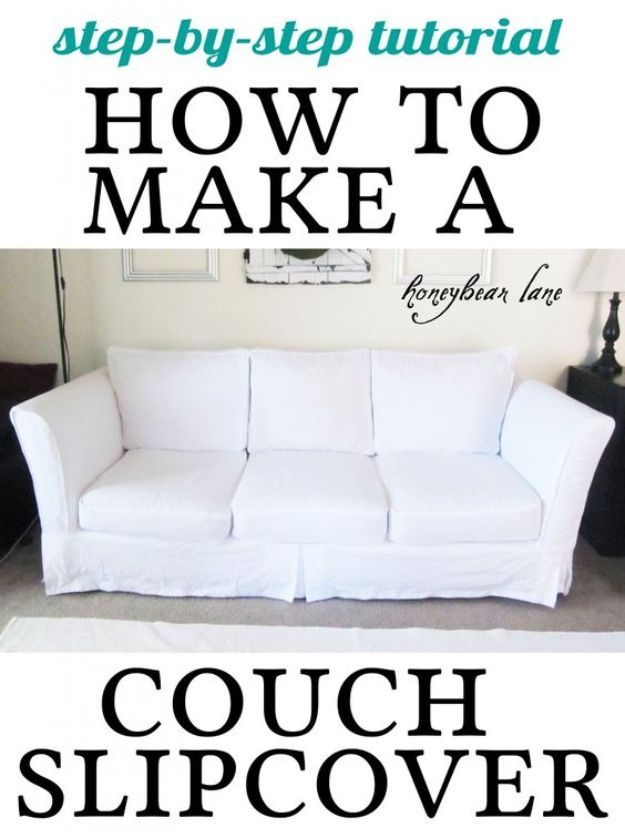 DIY Slipcovers - Make A Couch Slipcover - Do It Yourself Slip Covers For Furniture - No Sew Ideas, Easy Fabrics Four Couch and Sofa Cover - Chair Projects and Ideas, How To Make a Slip cover with step by step tutorial and instructions - Cool DIY Home and Living Room Decor #slipcovers #diydecor