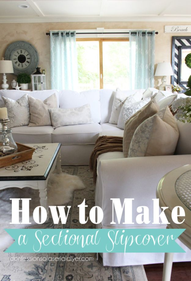 DIY Slipcovers - Make A Sectional Slipcover - Do It Yourself Slip Covers For Furniture - No Sew Ideas, Easy Fabrics Four Couch and Sofa Cover - Chair Projects and Ideas, How To Make a Slip cover with step by step tutorial and instructions - Cool DIY Home and Living Room Decor http://diyjoy.com/diy-slipcovers