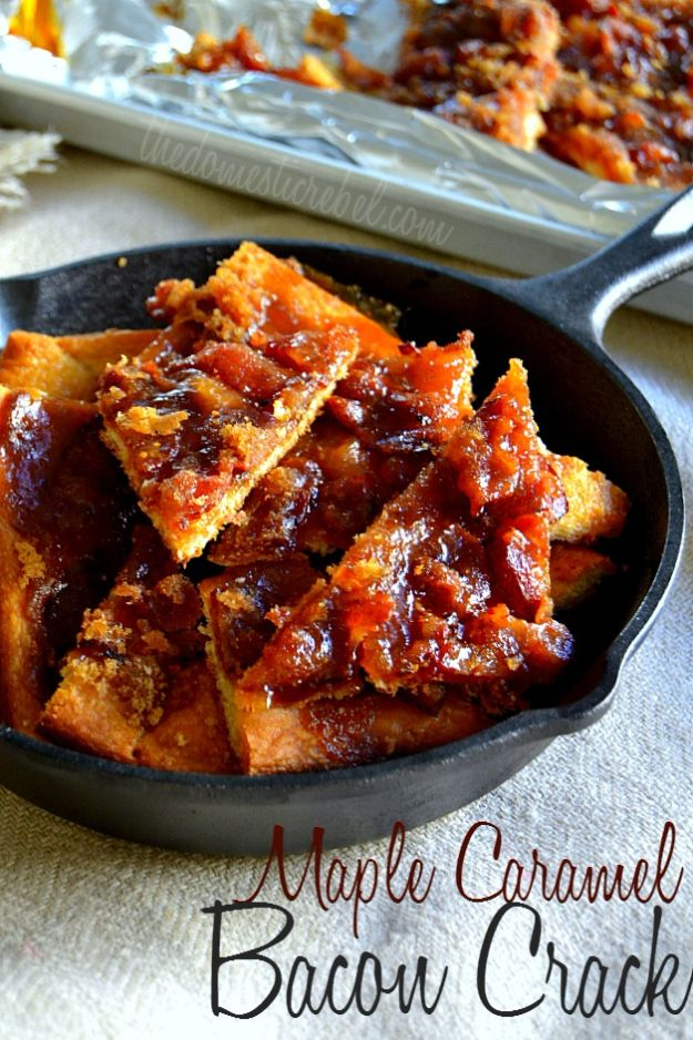 Best Brunch Recipes - Maple Caramel Bacon Crack - Eggs, Pancakes, Waffles, Casseroles, Vegetable Dishes and Side, Potato Recipe Ideas for Brunches - Serve A Crowd and Family with the versions of Eggs Benedict, Mimosas, Muffins and Pastries, Desserts - Make Ahead , Slow Cooler and Healthy Casserole Recipes #brunch #breakfast #recipes