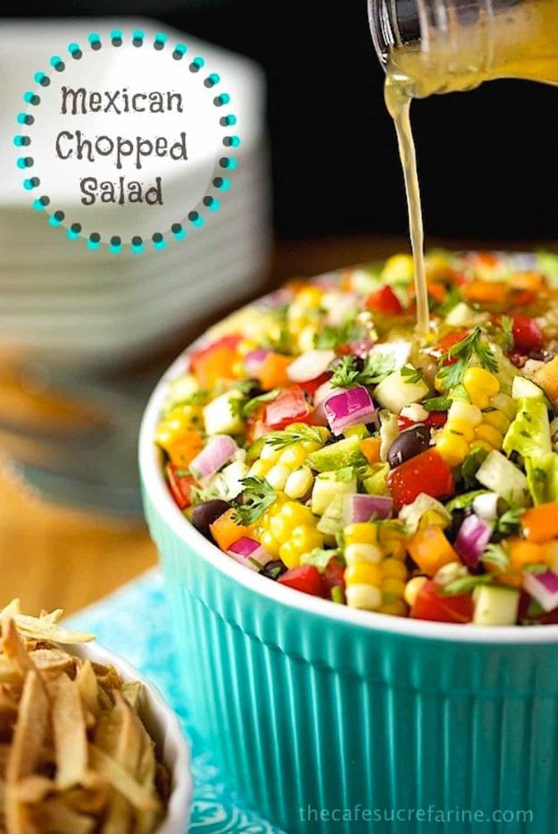 Best Dinner Party Ideas - Mexican Chopped Salad - Best Recipes for Foods to Serve, Casseroles, Finger Foods, Desserts and Appetizers- Place Settings and Cards, Centerpieces, Table Decor and Recipe Ideas for Supper Clubs and Dinner Parties http://diyjoy.com/best-dinner-party-ideas