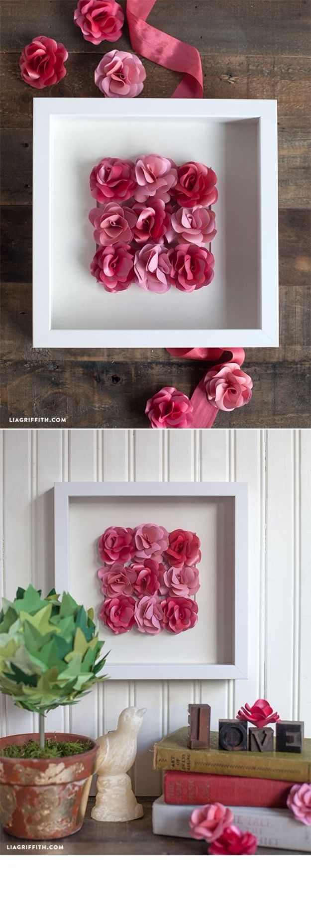 Rose Crafts - Mini Paper Rose Framed Artwork - Easy Craft Projects With Roses - Paper Flowers, Quilt Patterns, DIY Rose Art for Kids - Dried and Real Roses for Wall Art and Do It Yourself Home Decor - Mothers Day Gift Ideas - Fake Rose Arrangements That Look Amazing - Cute Centerrpieces and Crafty DIY Gifts With A Rose http://diyjoy.com/rose-crafts