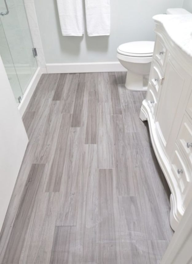 DIY Flooring Projects - Modern Vinyl Plank For Bathroom Floor - Cheap Floor Ideas for Those On A Budget - Inexpensive Ways To Refinish Floors With Concrete, Laminate, Plywood, Peel and Stick Tile, Wood, Vinyl - Easy Project Plans and Unique Creative Tutorials for Cool Do It Yourself Home Decor #diy #flooring #homeimprovement