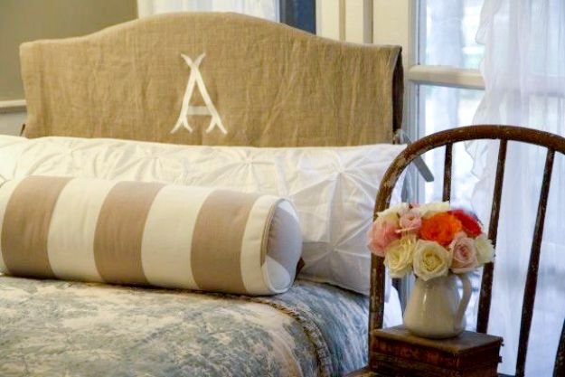DIY Slipcovers - Monogrammed Headboard Slipcover - Do It Yourself Slip Covers For Furniture - No Sew Ideas, Easy Fabrics Four Couch and Sofa Cover - Chair Projects and Ideas, How To Make a Slip cover with step by step tutorial and instructions - Cool DIY Home and Living Room Decor #slipcovers #diydecor