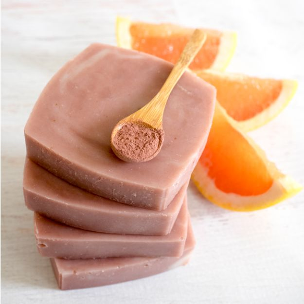 DIY Soap Recipes - Natural Pink Grapefruit and Clay Soap - Melt and Pour, Homemade Recipe Without Lye - Natural Soap crafts for Kids - Shea Butter, Essential Oils, Easy Ides With 3 Ingredients - soap recipes with step by step tutorials #soap #diygifts