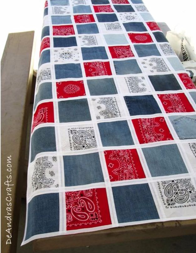 DIY Ideas With Bandanas - No-Sew Bandana & Recycled Jean Table Cloth - Bandana Crafts and Decor Projects Made With A Bandana - No Sew Ideas, Bags, Bracelets, Hats, Halter Tops, Blankets and Quilts, Headbands, Simple Craft Project Tutorials for Kids and Teens - Home Decoration and Country Themed Crafts To Make and Sell On Etsy http://diyjoy.com/diy-ideas-bandanas