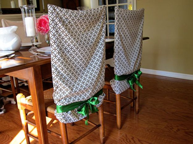 DIY Slipcovers - No-Sew Pillow Case Chair Covers - Do It Yourself Slip Covers For Furniture - No Sew Ideas, Easy Fabrics Four Couch and Sofa Cover - Chair Projects and Ideas, How To Make a Slip cover with step by step tutorial and instructions - Cool DIY Home and Living Room Decor #slipcovers #diydecor