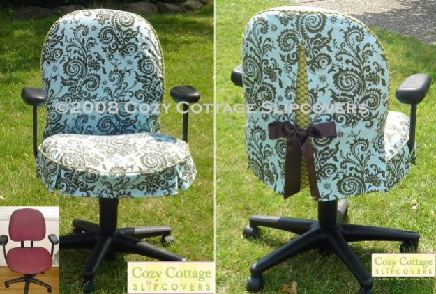 DIY Slipcovers - Office Chair Slipcover - Do It Yourself Slip Covers For Furniture - No Sew Ideas, Easy Fabrics Four Couch and Sofa Cover - Chair Projects and Ideas, How To Make a Slip cover with step by step tutorial and instructions - Cool DIY Home and Living Room Decor #slipcovers #diydecor