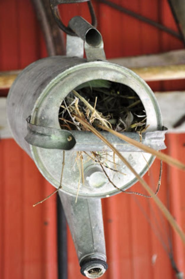DIY Bird Houses - Old Watering Can Birdhouse - Easy Bird House Ideas for Kids and Adult To Make - Free Plans and Tutorials for Wooden, Simple, Upcyle Designs, Recycle Plastic and Creative Ways To Make Rustic Outdoor Decor and a Home for the Birds - Fun Projects for Your Backyard This Summer http://diyjoy.com/diy-bird-houses