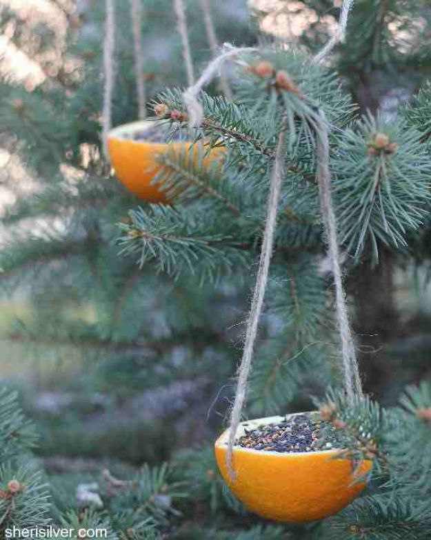 DIY Bird Feeders - Orange Bird Feeder - Easy Do It Yourself Homemade Bird Feeder Ideas from Mason Jar, Wooden, Wine Bottle, Milk Jug, Plastic, Dollar Store Supplies - Squirrel Proof, Unique and Creative Tutorials That Make Cool DIY Gifts #diyideas #birds