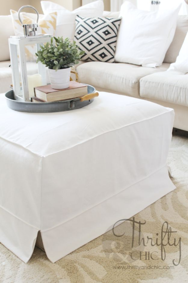 DIY Slipcovers - Ottoman Slipcover - Do It Yourself Slip Covers For Furniture - No Sew Ideas, Easy Fabrics Four Couch and Sofa Cover - Chair Projects and Ideas, How To Make a Slip cover with step by step tutorial and instructions - Cool DIY Home and Living Room Decor http://diyjoy.com/diy-slipcovers