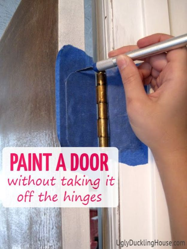 DIY Painting Hacks - Paint A Door Without Taking It Off The Hinges - Easy Ways To Shortcut House Painting - Wall Prep, Painters Tape, Trim, Edging, Ceiling, Exterior Cutting In, Furniture and Crafts Paint Tips - Paint Your House Or Your Room With These Time Saving Painter Hacks and Quick Tricks http://diyjoy.com/diy-painting-hacks