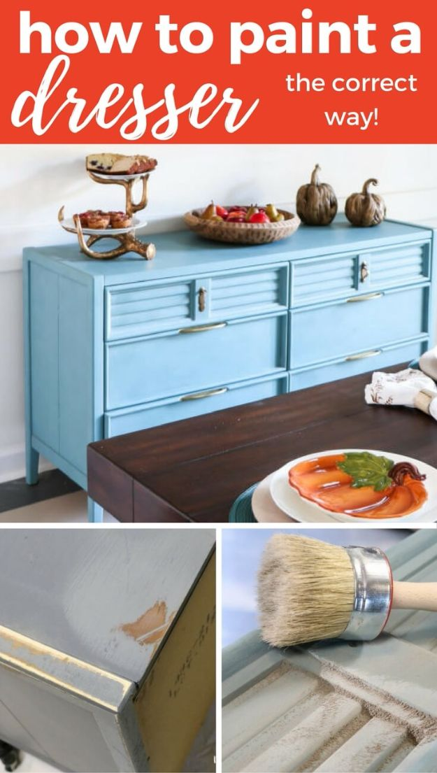 DIY Painting Hacks - Paint A Dresser The Correct Way - Easy Ways To Shortcut House Painting - Wall Prep, Painters Tape, Trim, Edging, Ceiling, Exterior Cutting In, Furniture and Crafts Paint Tips - Paint Your House Or Your Room With These Time Saving Painter Hacks and Quick Tricks http://diyjoy.com/diy-painting-hacks