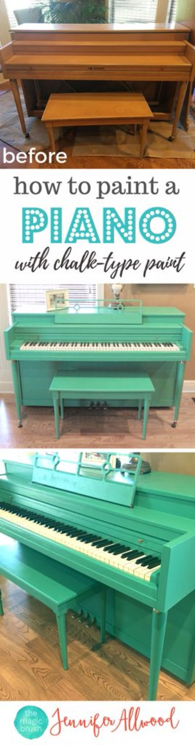 DIY Painting Hacks - Paint An Old Piano - Easy Ways To Shortcut House Painting - Wall Prep, Painters Tape, Trim, Edging, Ceiling, Exterior Cutting In, Furniture and Crafts Paint Tips - Paint Your House Or Your Room With These Time Saving Painter Hacks and Quick Tricks http://diyjoy.com/diy-painting-hacks