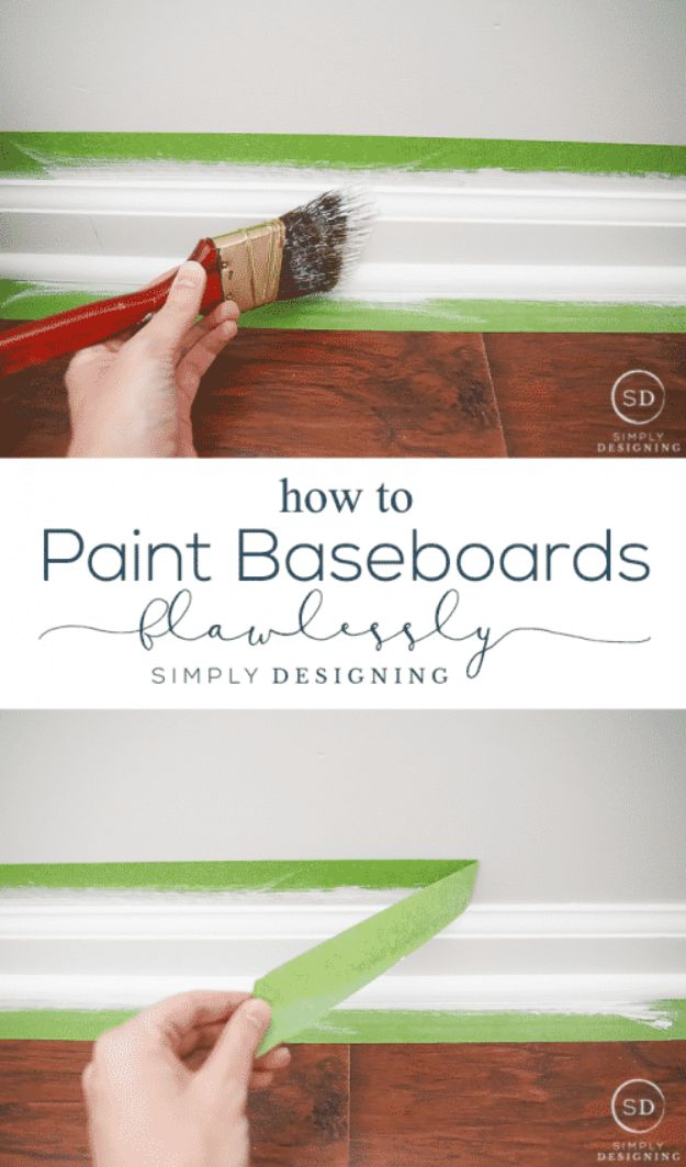 DIY Painting Hacks - Paint Baseboards Flawlessly - Easy Ways To Shortcut House Painting - Wall Prep, Painters Tape, Trim, Edging, Ceiling, Exterior Cutting In, Furniture and Crafts Paint Tips - Paint Your House Or Your Room With These Time Saving Painter Hacks and Quick Tricks http://diyjoy.com/diy-painting-hacks